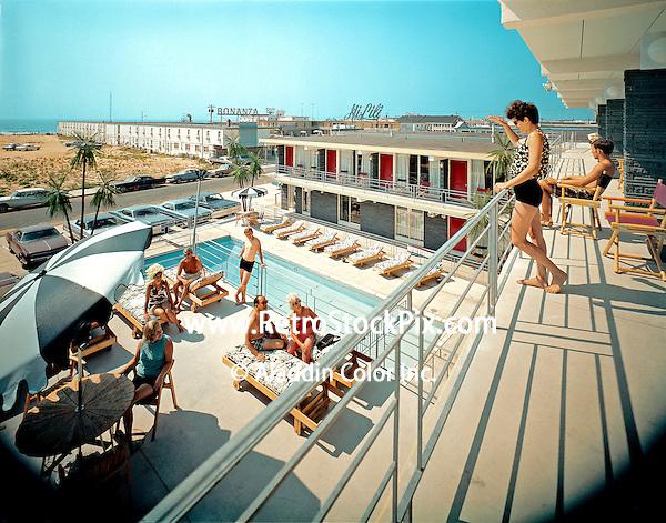 Kona Kai Motel, Wildwood, NJ - Woman on the balcony waving to the friends by the pool.