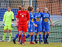 20191221 - WOLUWE: Gent's Debbie Coenraets (left) celebrates the goal with Jasmien Mathys (right) while Woluwe's Clotilde Codden walks away dejected during the Belgian Women's National Division 1 match between FC Femina WS Woluwe A and KAA Gent B on 21st December 2019 at State Fallon, Woluwe, Belgium. PHOTO: SPORTPIX.BE | SEVIL OKTEM