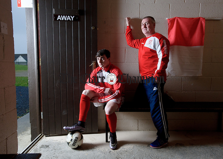 Ian Collins, a member of the current Newmarket Celtic team pictured with his father Kieran who played for Newmarket in the 1985 Munster Junior Final. Photograph by John Kelly.