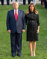 United States President Donald J. Trump and first lady Melania Trump observe a moment of silence at 8:46am EDT in commemoration of  the 18th anniversary of the terrorist attacks on the World Trade Center in New York, NY and the Pentagon in Washington, DC on Wednesday, September 11, 2019.<br /> Credit: Ron Sachs / CNP /MediaPunch