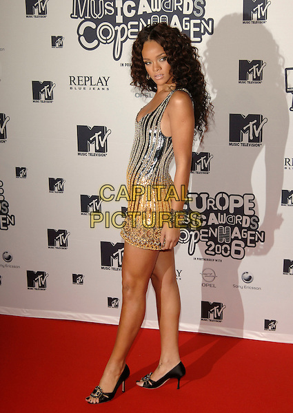 RIHANNA.MTV Europe Music Awards 2006, Bella Center & Radhuspladsen, Copenhagen, Denmark..November 2nd, 2006.Ref: PL.full length gold silver sequined sequins dress.www.capitalpictures.com.sales@capitalpictures.com.©Phil Loftus/Capital Pictures