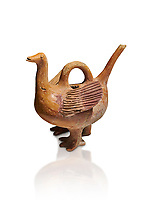 Bronze Age Anatolian terra cotta duck shaped ritual vessel - 19th to 17th century BC - Kültepe Kanesh - Museum of Anatolian Civilisations, Ankara, Turkey. Against a white background.