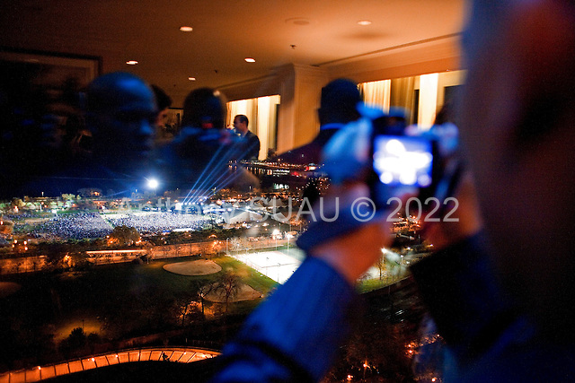 Chicago, Illinois.November 4, 2008.USA..In a private suite a high end party is held for Chicago Democrats in the Hilton Hotel as Senator Barack Obama is elected President of the United States of America. The suite overlooks the victory rally being held at Grant Park.