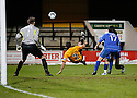 Joe Welch of Histon watches as Kevin Roberts of Cambridge United's overhead kick goes over the bar during the Blue Square Bet Premier match between Cambridge United and Histon at the Abbey Stadium, Cambridge on 1st January, 2011.© Kevin Coleman 2011