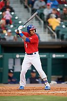 Buffalo Bisons third baseman Tim Lopes (5) at bat during a game against the Scranton/Wilkes-Barre RailRiders on May 18, 2018 at Coca-Cola Field in Buffalo, New York.  Buffalo defeated Scranton/Wilkes-Barre 5-1.  (Mike Janes/Four Seam Images)