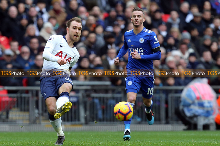 Christian Eriksen of Tottenham Hotspur and James Maddison of Leicester City during Tottenham Hotspur vs Leicester City, Premier League Football at Wembley Stadium on 10th February 2019