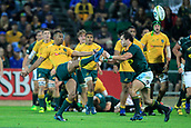 9th September 2017, nib Stadium, Perth, Australia; Supersport Rugby Championship, Australia versus South Africa; Curtly Beale of the Australian Wallabies kicks into touch during the second half
