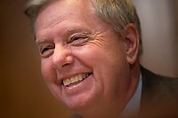 United States Senator Lindsey Graham (Republican of South Carolina) laughs at a joke he made during the US Senate State, Foreign Operations, and Related Programs Subcommittee hearing on April 9, 2019.<br /> Credit: Stefani Reynolds / CNP/AdMedia