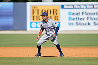 Jacksonville Jumbo Shrimp shortstop Cito Culver (2) during a game against the Biloxi Shuckers on May 6, 2018 at MGM Park in Biloxi, Mississippi.  Biloxi defeated Jacksonville 6-5.  (Mike Janes/Four Seam Images)