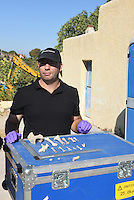 Pictured: Special forensics police officers show to the members of the press animal bone fragments discovered in a search a field in Kos, Greece. Wednesday 28 September 2016<br /> Re: Police teams searching for missing toddler Ben Needham on the Greek island of Kos have said they are &quot;optimistic&quot; about new excavation work.<br /> Ben, from Sheffield, was 21 months old when he disappeared on 24 July 1991 during a family holiday.<br /> Digging has begun at a new site after a fresh line of inquiry suggested he could have been crushed by a digger.<br /> South Yorkshire Police (SYP) said it continued to keep an &quot;open mind&quot; about what happened to Ben.