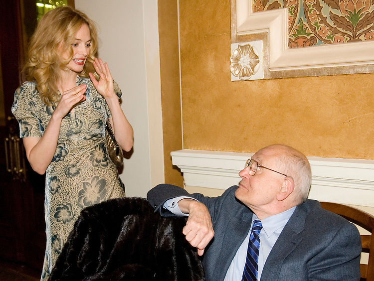 Heather Graham, star of the movie 'Gray Matters,' speaks with Rep. John Dingell, D-Mich., during the 'Tribute to the 110th Congress' sponsored by the Creative Coaltion at B. Smith's restaurant in Washington on Wednesday night, Jan. 31, 2007.