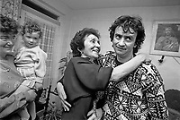 Gerard Conlon of the Guildford Four returns to his family in Belfast, N Ireland, UK, a few days after his conviction was quashed following 15 years in jail. The Guildford Pub Bombings took place on 5 October 1974. Five were killed and 65 seriously injured. Gerard is hugged by his mother Sarah. 198910123.<br />