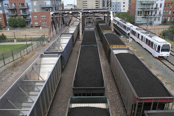 Denver, Colorado, train, railroad, coal, coal train, mass transit, pollution, commerce, business, industry, Confluence Park, coal, energy, light rail commuter train, railroad, commuter, downtown, urban,
