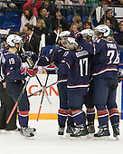 Jordan Schroeder (USA - 19), Kyle Palmieri (USA - 23), Ryan Bourque (USA - 17), ?, Cam Fowler (USA - 24) - Team USA defeated Team Switzerland 3-0 on Sunday, December 27, 2009, at the Credit Union Centre in Saskatoon, Saskatchewan, during the 2010 World Juniors tournament.