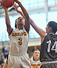 Sierra Clark #3 of Adelphi University, left, drives to the net as Margaret Knollmeyer of New York Institute of Technology tries to stop her during the opening round of the NCAA Division II women's basketball Regionals at Adelphi University on Friday, March 10, 2017. She tallied a game-high 23 points and 15 rebounds to lead the Lady Panthers to a 64-47 win.