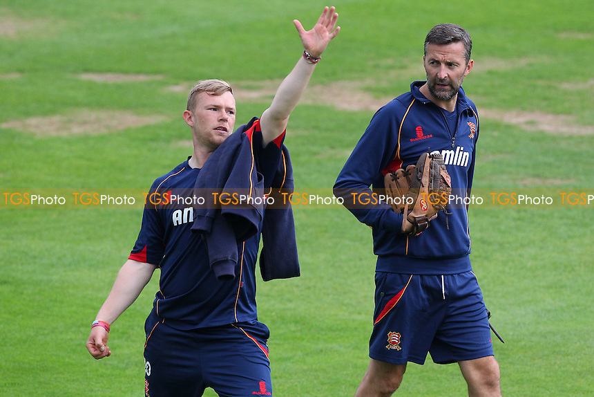Essex head coach Paul Grayson (R) offers some advice to Tom Craddock during the lunch interval - Essex CCC vs Glamorgan CCC - LV County Championship Division Two Cricket at the Essex County Ground, Chelmsford - 02/06/14 - MANDATORY CREDIT: Gavin Ellis/TGSPHOTO - Self billing applies where appropriate - 0845 094 6026 - contact@tgsphoto.co.uk - NO UNPAID USE