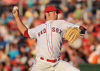 May 30, 2009: RHP Stephen Fife (61) of the Greenville Drive, No. 28 prospect of the Boston Red Sox, in a game against the Charleston RiverDogs at Fluor Field at the West End in Greenville, S.C. Photo by: Tom Priddy/Four Seam Images
