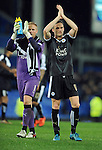 Andy King of Leicester City celebrates at the end of the game towards the Leicester City fans<br /> - Barclays Premier League - Everton vs Leicester City - Goodison Park - Liverpool - England - 19th December 2015 - Pic Robin Parker/Sportimage