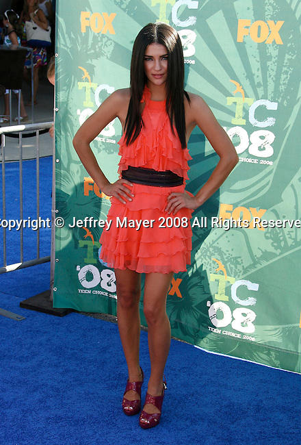 Actress Jessica Szohr arrives at the 2008 Teen Choice Awards at the Gibson Amphitheater on August 3, 2008 in Universal City, California.