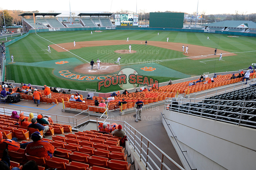 Photo of the Clemson Tigers in a game against the the Wofford Terriers on Wednesday, March 6, 2013, at Doug Kingsmore Stadium in Clemson, South Carolina. Clemson won, 9-2. (Tom Priddy/Four Seam Images)