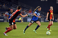 Kansas City, Kansas - Saturday April 16, 2016: FC Kansas City defender Brittany Taylor (13) moves the ball against Western New York Flash defender Abby Erceg (6) in the second half at Children's Mercy Park. Western New York won 1-0.