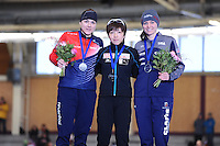 SPEEDSKATING: BERLIN: Sportforum Berlin, 28-01-2017, ISU World Cup, Podium 500m Ladies A Division, Karolina Erbanova (CZE), Nao Kodaira (JPN), Heather Bergsma (USA), ©photo Martin de Jong