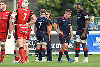 Joe Atkinson of London Scottish is attended to by London Scottish medic staff during the Greene King IPA Championship match between London Scottish Football Club and Hartpury RFC at Richmond Athletic Ground, Richmond, United Kingdom on 28 October 2017. Photo by David Horn.