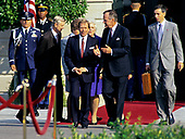 United States President George H.W. Bush, right, welcomes President Václav Havel of Czechoslovakia, left, as he hosts a State Arrival ceremony on the South Lawn of the White House on October 22, 1991.  Havel is visiting Washington for a State Visit.<br /> Credit: Ron Sachs / CNP