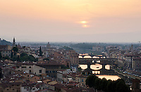 Florence - sunset over the River Arno and the Ponte Vecchio, Tuscany, Italy