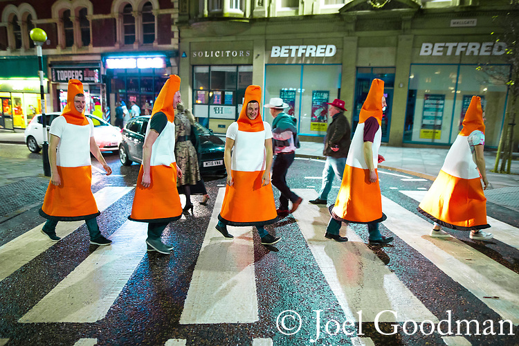 © Joel Goodman - 07973 332324 . 26/12/2017. Wigan, UK. Traffic cones. Revellers in Wigan enjoy Boxing Day drinks and clubbing in Wigan Wallgate . In recent years a tradition has been established in which people go out wearing fancy-dress costumes on Boxing Day night . Photo credit : Joel Goodman