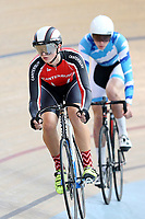 Toby Buckner of Canterbury (L) and Cameron Manley of Auckland  compete in the U17 Boys Sprint race  at the Age Group Track National Championships, Avantidrome, Home of Cycling, Cambridge, New Zealand, Friday, March 17, 2017. Mandatory Credit: © Dianne Manson/CyclingNZ  **NO ARCHIVING**