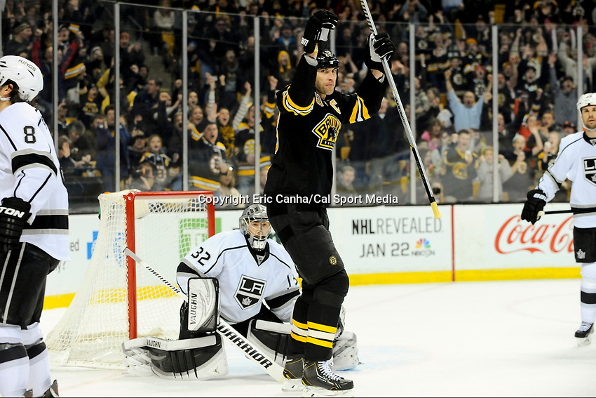 January 20, 2014 - Boston, Massachusetts, U.S. - Boston Bruins defenseman Zdeno Chara (33) celebrates a goal by defenseman Torey Krug (47)  during the NHL game between Los Angeles Kings and the Boston Bruins held at TD Garden in Boston Massachusetts. The Bruins defeated the Kings 3-2 in regulation time.   Eric Canha/CSM