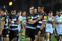 Henry Thomas and Anthony Watson of Bath Rugby after the match. Aviva Premiership match, between Bath Rugby and Worcester Warriors on December 27, 2015 at the Recreation Ground in Bath, England. Photo by: Patrick Khachfe / Onside Images