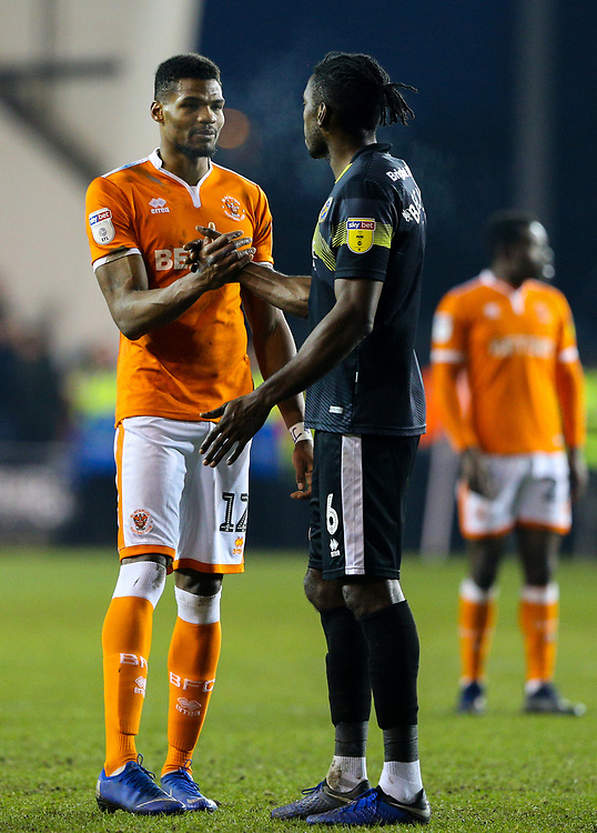 Blackpool's Michael Nottingham shakes hands with Shrewsbury Town's Omar Beckles after the match<br /> <br /> Photographer Alex Dodd/CameraSport<br /> <br /> The EFL Sky Bet League One - Blackpool v Shrewsbury Town - Saturday 19 January 2019 - Bloomfield Road - Blackpool<br /> <br /> World Copyright &copy; 2019 CameraSport. All rights reserved. 43 Linden Ave. Countesthorpe. Leicester. England. LE8 5PG - Tel: +44 (0) 116 277 4147 - admin@camerasport.com - www.camerasport.com