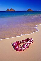 A beautiful orchid lei gently settles on the warm sands of Lanikai beach,Oahu. Mokulua islands in background.