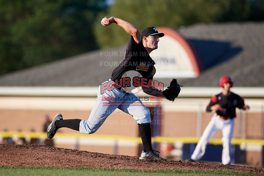 West Virginia Black Bears starting pitcher Scooter Hightower (22) delivers a pitch during a game against the Batavia Muckdogs on August 5, 2017 at Dwyer Stadium in Batavia, New York.  Batavia defeated Williamsport 3-2.  (Mike Janes/Four Seam Images)