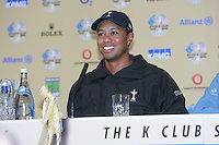 Ryder Cup K Club Straffin Co Kildare...American Ryder Cup Team Member Tiger Woods speaking to media at a press conference on Practice day two at the K Club....Photo: Fran Caffrey/ Newsfile..