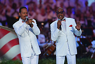 "Washington, DC - July 3, 2017: Abdul Fakir (right), the remaining original member of the Motown group The Four Tops, and Ronnie McNeir perform with the group at the ""Capitol Fourth"" rehearsal concert on the west lawn of the U.S. Capitol July 3, 2017  (Photo by Don Baxter/Media Images International)"
