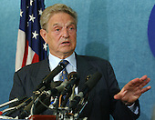 Washington, D.C. - September 27, 2004 -- George Soros, a financier who is critical of the Bush policy in Iraq, speaks at a press conference in Washington, D.C. on September 27, 2004..Credit: Ron Sachs / CNP