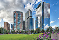 A view of the Discovery Green -  We capture this image as we came up to the discovery green park in Houston right across from the new George Brown Convention center and we thought it was pretty with the colorful flowers and the high-rises in the distance.