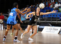 22.01.2015 Silver Ferns Camilla Lees in action during the netball test match between the Silver Ferns and Fiji at the Vodafone Arena in Suva Fiji. Mandatory Photo Credit ©Michael Bradley.
