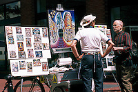 Artist with his Art on Display in Gastown, in the City of Vancouver, BC, British Columbia, Canada