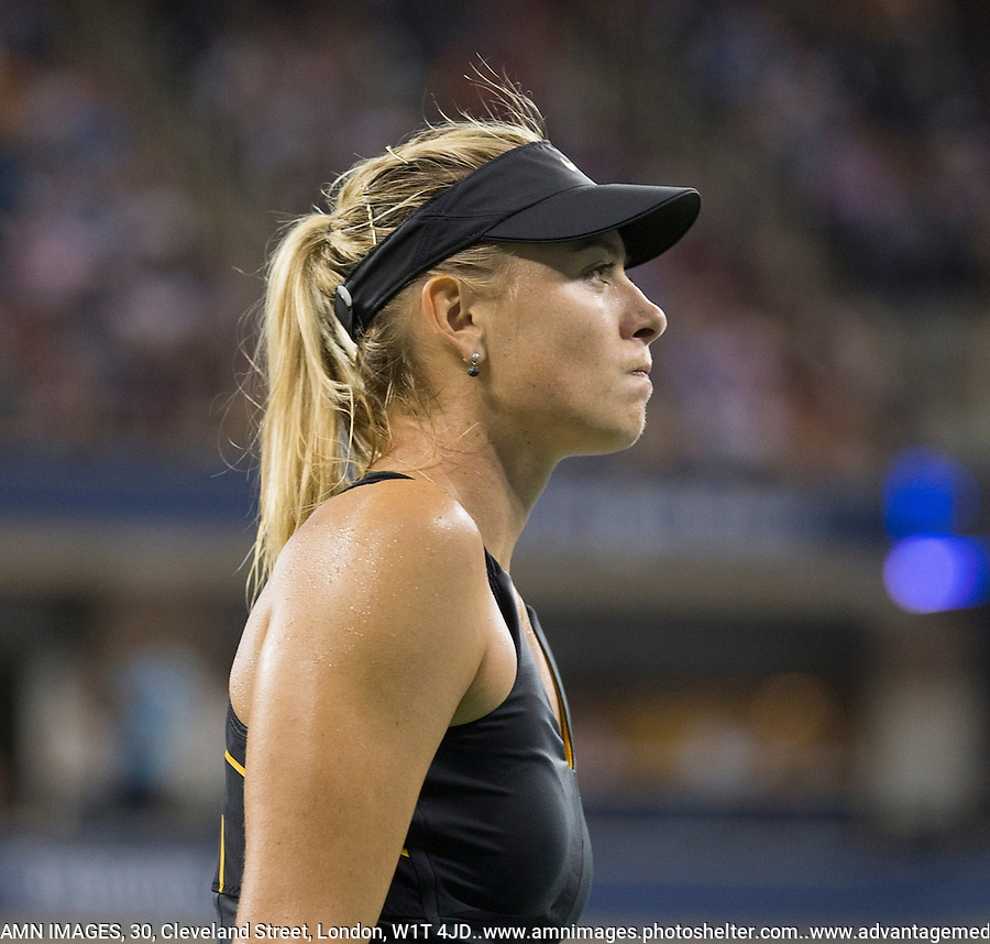 Maria Sharapova..Tennis - US Open - Grand Slam -  New York 2012 -  Flushing Meadows - New York - USA - Sunday 2nd September  2012. .© AMN Images, 30, Cleveland Street, London, W1T 4JD.Tel - +44 20 7907 6387.mfrey@advantagemedianet.com.www.amnimages.photoshelter.com.www.advantagemedianet.com.www.tennishead.net