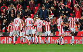 4th November 2017, bet365 Stadium, Stoke-on-Trent, England; EPL Premier League football, Stoke City versus Leicester City; Stoke City players celebrate the first equaliser by Xherdan Shaqiri making the score 1-1