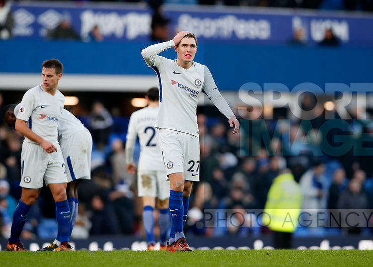 Chelsea's Andreas Christensen looks on dejected at the final whistle during the premier league match at Goodison Park Stadium, Liverpool. Picture date 23nd December 2017. Picture credit should read: David Klein/Sportimage