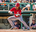 21 March 2015: Washington infielder Emmanuel Burriss lays down a bunt in the 7th inning of a Spring Training Split Squad game against the Atlanta Braves at Champion Stadium at the ESPN Wide World of Sports Complex in Kissimmee, Florida. The Braves defeated the Nationals 5-2 in Grapefruit League play. Mandatory Credit: Ed Wolfstein Photo *** RAW (NEF) Image File Available ***