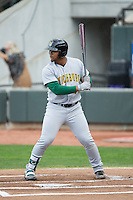Bobby Bradley (44) of the Lynchburg Hillcats at bat against the Winston-Salem Dash at BB&T Ballpark on April 28, 2016 in Winston-Salem, North Carolina.  The Dash defeated the Hillcats 4-1.  (Brian Westerholt/Four Seam Images)