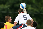 27 June 2008: The United States' Nicholas Palodichuk (5) heads the ball in traffic. The United States 2009 Under-17 Men's National Team lost to the Bridge FC U16s 1-3 at McPherson Stadium at Bryan Soccer Park in Brown's Summit, NC as part of the U.S. Soccer Federation Development Academy Summer Showcase which is part of the 2007-2008 regular season.