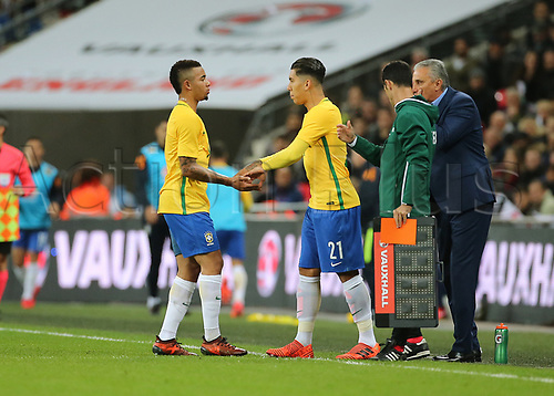 14th November 2017, Wembley Stadium, London, England; International football friendly, England versus Brazil; Gabriel Jesus of Brazil is substituted for Roberto Firmino of Brazil