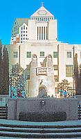 Los Angeles: Public Library, 1922-1926. Western Facade (Flower St.)--main entrance. Bertram G. Goodhue & Carleton M. Winslow. Photo '96.